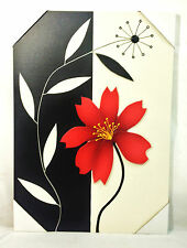 Large beautiful leather wall art floral frame black/red