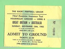 #D82.  1982  RUGBY LEAGUE TICKET - GREAT BRITAIN V AUSTRALIA, LEEDS
