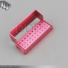 30 Holes Dental Aluminum Bur Burs Holder Box Autoclave Pink Color DN-2087