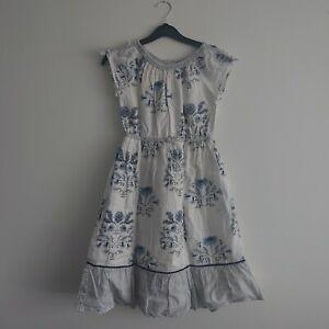 Girls Next Beautiful Summer Dress 7 Years Blue and white 100% Cotton