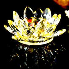 Lotus Tea Light Candle Holder Gold Colour Crystal Glass Flower Rotating Base Sp