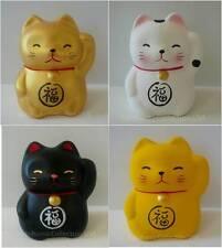 "Set of 4 Mini 2"" H  Maneki Neko Cats ""FUKU"" Happiness/Earthenware/ Made In Japan"