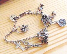Vintage Silver Charm Bracelet with 9 Charms