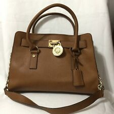 Michael Kors Hamilton Satchel Shoulder Handbag Purse with Gold Chain - Brown
