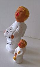 2 Engel - Rot Ceramik - Keramik  Deko Weihnachten Höhe 8,5 cm + 4 cm