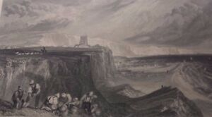 1825 Robert Bruce Wallis engraving after JMW Turner 'Folkstone, Kent' 1 of 2