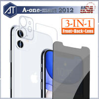 For iPhone 11 Pro Max Tempered Glass Screen Protector Camera Lens +Privacy +Back