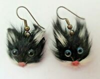 Black CAT EARRINGS Genuine Rabbit Fur Pierced EUC Handmade Jewelry