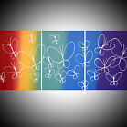 acrylic painting canvas triptych modern art artist abstract butterfly painting