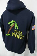 TEAM PACIFIC Stitched USA FLAG Gildan HEAVY COTTON HOODIE Pullover Sweatshirt M