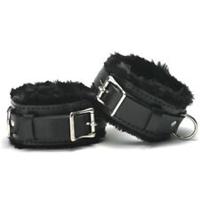 Locking pv leather fur-lined ANKLE CUFFS x-lg CU-03-BLA, FREE UK DELIVERY