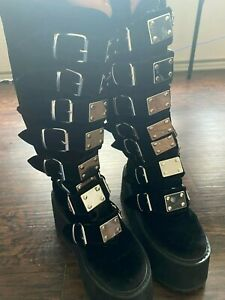 Demonia Velvet Morpheus Platform Boots - Pre-Owned Platform Boots Goth Style