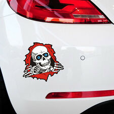 Funny 3D Skull Crack Window Car Sticker | Cool Skeleton Bone Motorcycle Decal