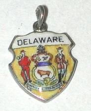Shield Travel Delaware Usa State De Vintage 925 Sterling Silver Charm Enamel