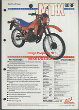 Honda-UK MTX80RF (1983-on) Data Sheet/Sales Brochure MTX80R,MTX80,MTX 80 R,Trail