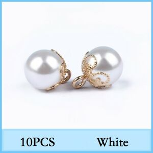 10x Faux Pearl Beads Button For Doll Kids Wedding Dress Tops Sewing Supplies DIY