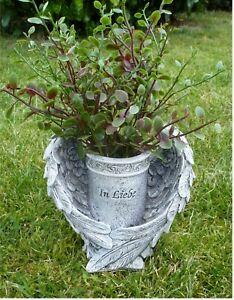'Blumenvase im Flügel Grabschmuck Grab-Deko *In Liebe* beige-grau-antik H15 cm