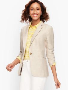 Talbots Classic 100% Linen Blazer Solid $169 Size 6 NWT