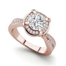 Twisted Halo 1.65 Carat VS2/F Round Cut Diamond Engagement Ring Rose Gold