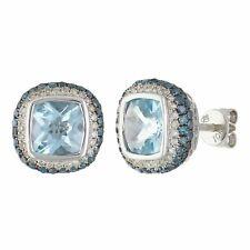 10k White Gold Blue Topaz Cushion With Diamond Stud Earrings
