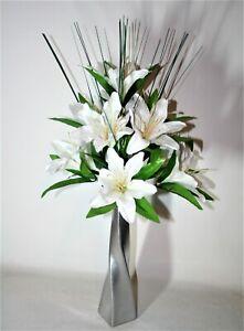CREAM TIGER  LILY  ARTIFICIAL FLOWER ARRANGEMENT SPRAY IN VASE- DISPLAY.