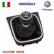 Pomello cambio cuffia pelle rosso cromato VW GOLF 5 6 V VI JETTA EOS ORIGINALE