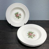 "Vintage Wedgwood EDME MOSS ROSE T432 8 1/4"" 2 Edged Soup Bowls + 2 With Chip"