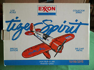 EXXON ISSUE TIGER SPIRIT 1929 TRAVEL AIR PLANE DIECAST NEW MADE BY LIBERTY  J2