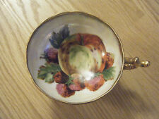 Vtg ORIGINAL NAPCO CHINA HANDPAINTED FOOTED CUP W/HANDLE, Fruits