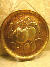 "Syroco Wood Collectors Plate w Dimensional Cherries Gold Vintage 9.5"" @9"