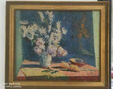 PEINTURE POT DE FLEUR SUR TABLE SIGNEE Pierre THOMAS 1865-1930 école de Crozant
