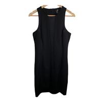 H&M Womens Sleeveless Sheath Dress Solid Black Seam Panel Scoop Neck Work Size 8