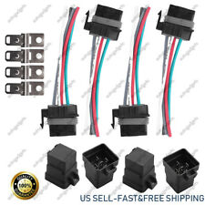 4 Pack 12V  5 Pin 5 Wires Relay Plug Socket Heavy Duty 40A Waterproof Automobile