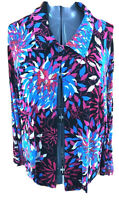 Chicos Travelers Woman Size 3 XL Blue Red Floral 1 Button Open Front Jacket