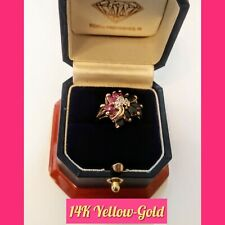 1.50CTS. GENUINE PINK + BLUE SAPPHIRES FLOWER RING! 14K YELLOW-GOLD!