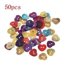 50Pcs 14mm Assorted Color Mini Heart Shaped Button 2 Holes For Sewing DIY Craft