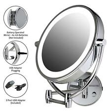 Mirror Led Wall Mount Lighted Makeup 1X/10X Magnifying Battery or Usb Adapter