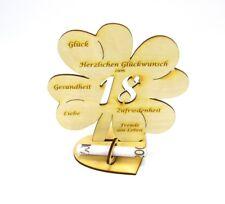 18. Geburtstag Kleeblatt großes Geldgeschenk 16cm Glückwunsch Geschenk Holz DIY