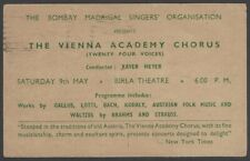 The Vienna Academy Chorus 1964 India performance advertisement