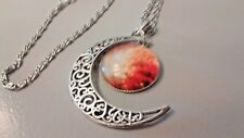 Pendant - Galaxy Cabochon & New Moon Filigree silver on 46 cm silver plate chain