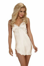 Satin Negligee Shannon Beige Cream with Thong Chemise Babydoll Night Gown S-XL