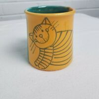 Hand Thrown Clay Pottery Cat Mug Budapest Hungary Hand Painted Blue Yellow Glaze