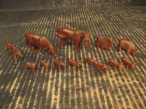 Farm Animals Lot of 12 Brown 9 Poses Marx Playset Pony Cow Goat Hog Dog Lambs