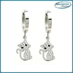 orecchini pendenti con cerchio donna acciaio inox gatto da in a bigiotteria per