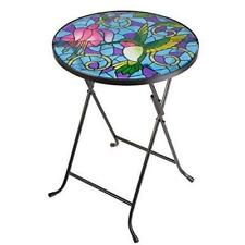 Hummingbird Design Folding Glass Table Hand Painted Weather Resistant Garden
