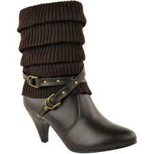 LADIES WOMENS MID CALF KNEE HIGH HEEL WINTER ANKLE SOCK BOOTS BIKER SHOES SIZE