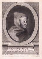 Portrait XVIIIe Armand Jean Le Bouthillier de Rancé Abbé De La Trappe Trappistes