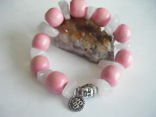 Spiritual Inspirational Healing Stacking Bracelet Buddha Om ECO Rose Quartz LOVE