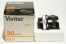 Vivitar 28 mm Festbrennweite f 2.0 für CANON C/FD im Originalkarton 28mm 1:2