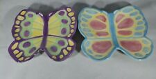 2 Fitz & Floyd Essentials Painted Easter Eggs Small Butterfly Plates Ff Pastel
